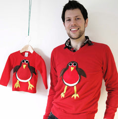 Matching Baby Christmas Jumper Robin