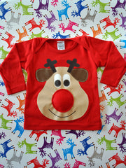 Baby Christmas Jumper Rudolph Reindeer Hand Screenprint