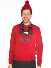 Men's Christmas Jumper Rudolph Reindeer Roundneck Brown Face