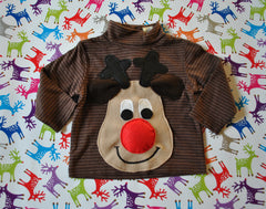 Baby Christmas Jumper Rudolph Beige Stripy Rollneck