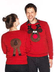 Men's Christmas Jumper Front & Back Rudolph Reindeer V Neck Brown Face