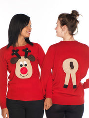 Ladies Front & Back Christmas Jumper Beige Face