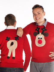 Men's Christmas Jumper Front & Back Rudolph Reindeer Roundneck Beige Face