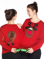 Ladies Front & Back Christmas Jumper Brown Face
