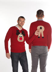 Men's Christmas Jumper Front & Back Rudolph Reindeer V Neck Beige Face