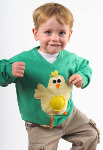 Heath dances the funky chicken in his Easter jumper