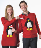 V neck Christmas Jumper Pablo Penguin