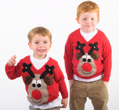 Kids' Rudolph Beige Christmas Jumper