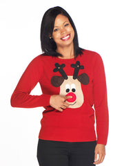 Ladies Christmas Jumper Rudolph Beige