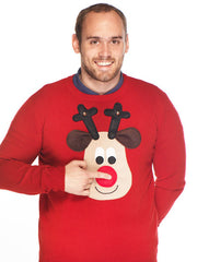 Men's Christmas Jumper Rudolph Reindeer Roundneck Beige Face