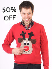 V neck Rudolph Christmas Jumper (Beige Face)