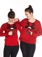 Ladies Christmas Jumper Rudolph Brown