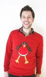 V neck Rodney Robin Christmas Jumper