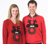 V neck Rudolph Christmas Jumper (Brown Face)