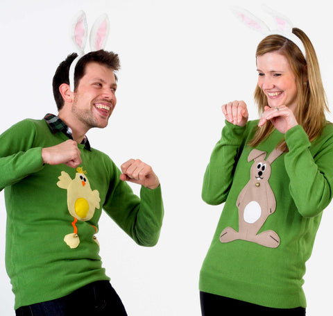 Cousins Frank and Becky get silly in their Easter jumpers