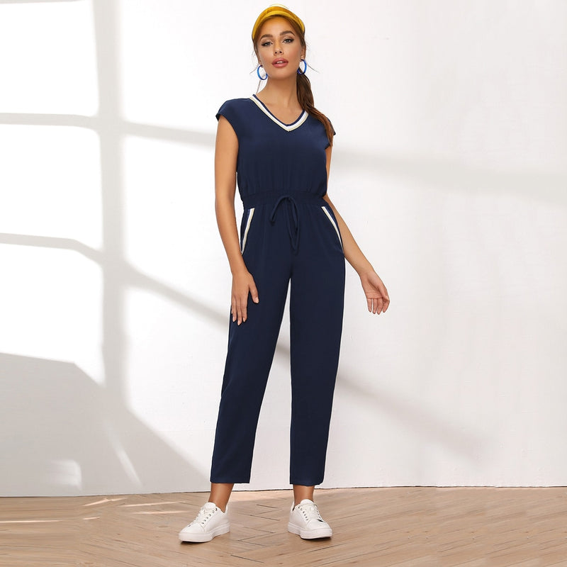 Contrast Striped Trim Drawstring Waist Jumpsuit - Winter Haven Co