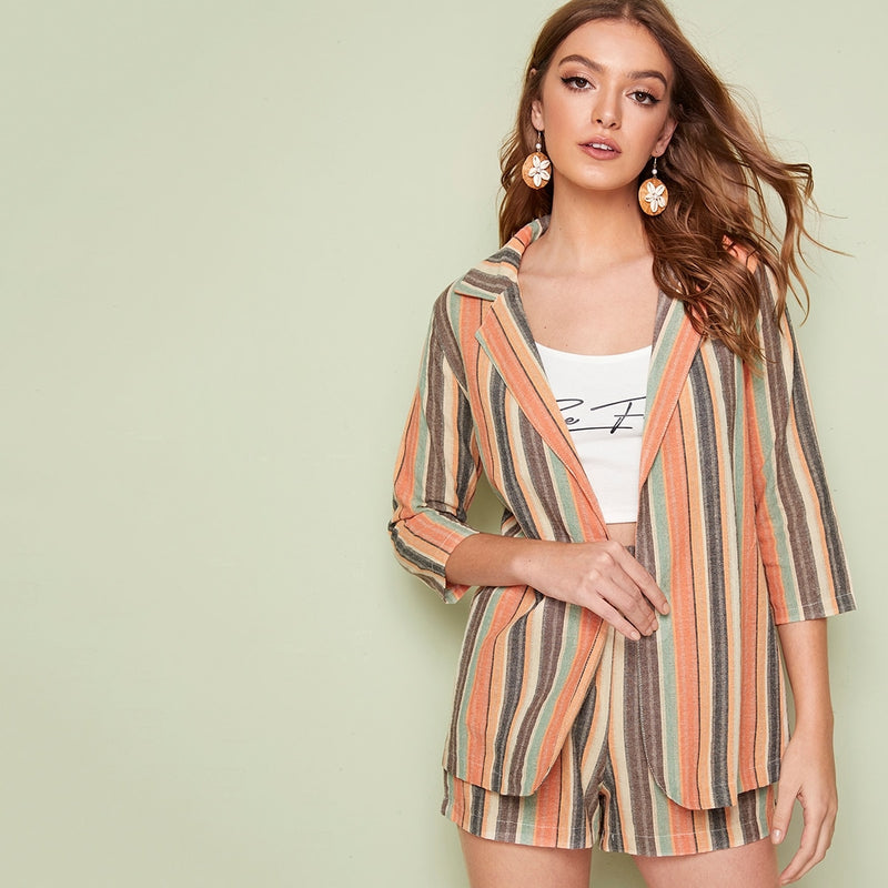 Striped Blazer With Paper Bag Shorts