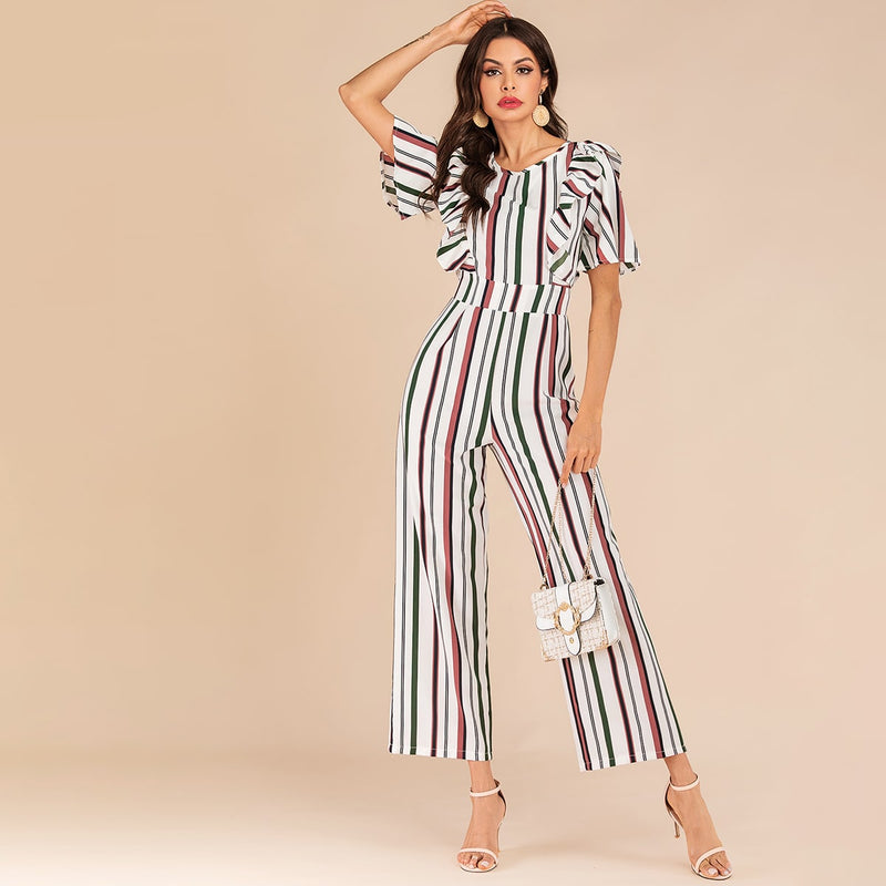 Colorful Striped Ruffle Trim Wide Leg Jumpsuit - Winter Haven Co