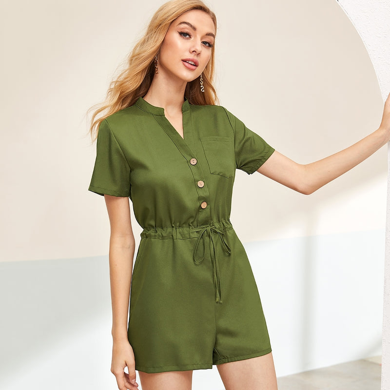 Notched Neck Half Placket Drawstring Waist Romper - Winter Haven Co