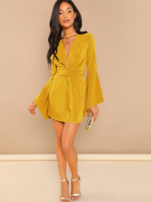 Flounce Sleeve Twist Plunging Neck Dress - Winter Haven Co