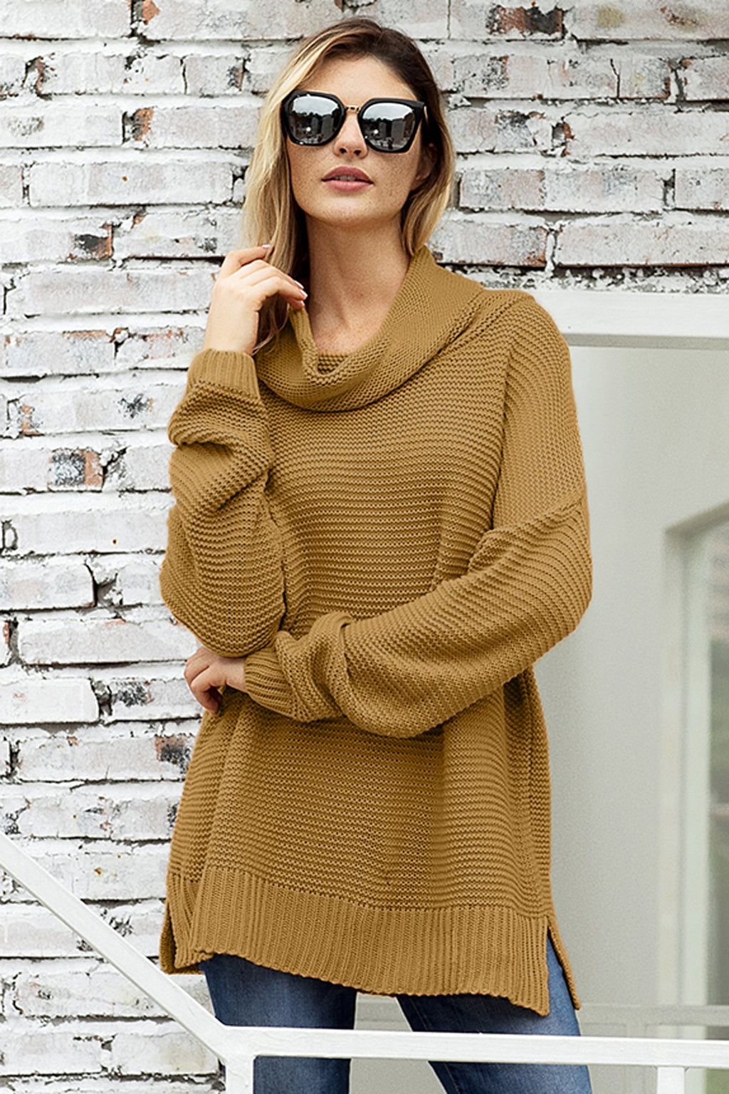 Fashion Khaki Cozy Long Sleeves Turtleneck Sweater - Winter Haven Co