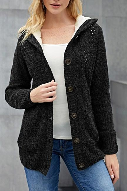 Fleece Hooded Black Button Down Cardigan Sweater - Winter Haven Co