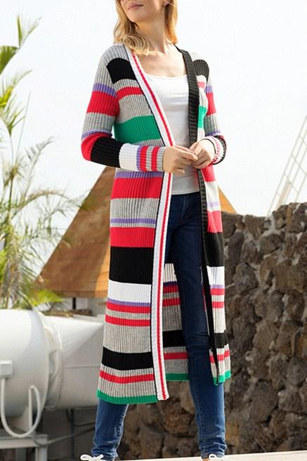 Colorful Striped Open Front Long Cardigan - Winter Haven Co