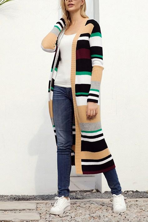 Color Block Striped Open Front Long Cardigan - Winter Haven Co