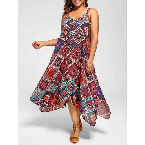 Plus Size Spaghetti Strap Geometric Print Handkerchief Dress - 4xl