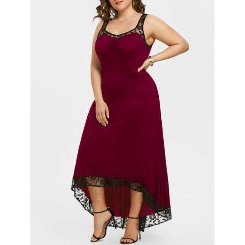 Plus Size High Low Maxi Party Dress - Wine Red 4xl