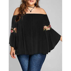 Plus Size Embroidery Bell Sleeve Blouse - Black 4xl - Winter Haven Co