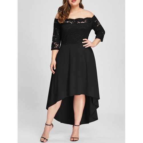 Plus Size Off Shoulder Dip Hem Lace Dress - Black 4xl
