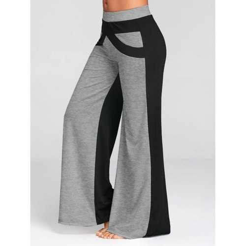 Wide Leg Pants with Color Block - Gray 2xl