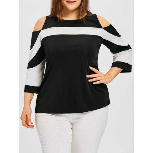 Plus Size Color Block Cold Shoulder Tee - White And Black 4xl - Winter Haven Co