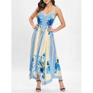 Ethnic Print Asymmetrical Maxi Dress - M - Winter Haven Co