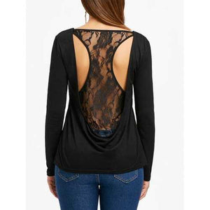 Racerback Lace Insert Long Sleeve Top - Black Xl