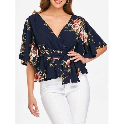 V Neck Floral Peplum Blouse - Midnight Blue L