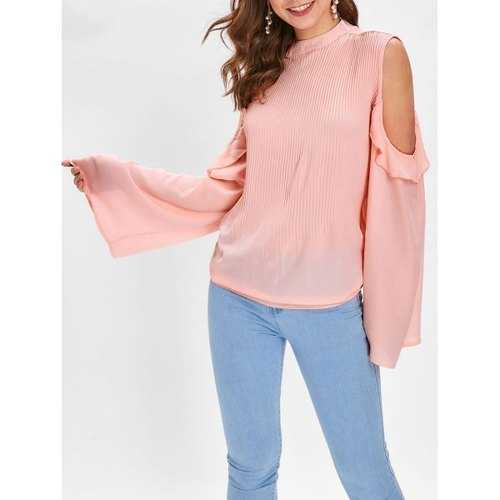 Cold Shoulder Flounce Pleated Blouse - Light Pink M - Winter Haven Co