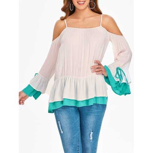 Long Sleeve Open Sholuder Layered Skirted Blouse - Sakura Pink L - Winter Haven Co