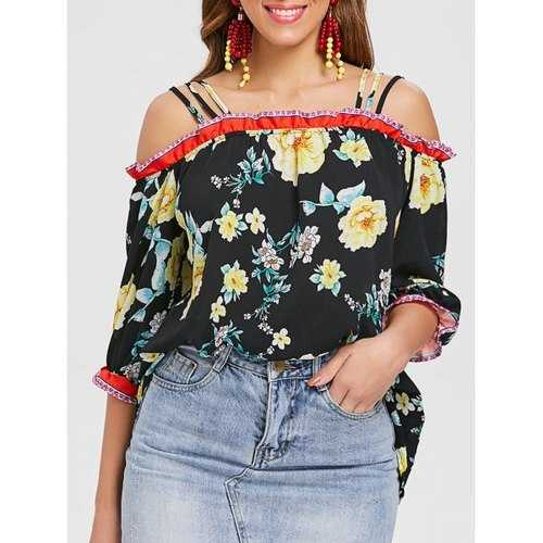 Strappy Floral Print Blouse - Black M - Winter Haven Co