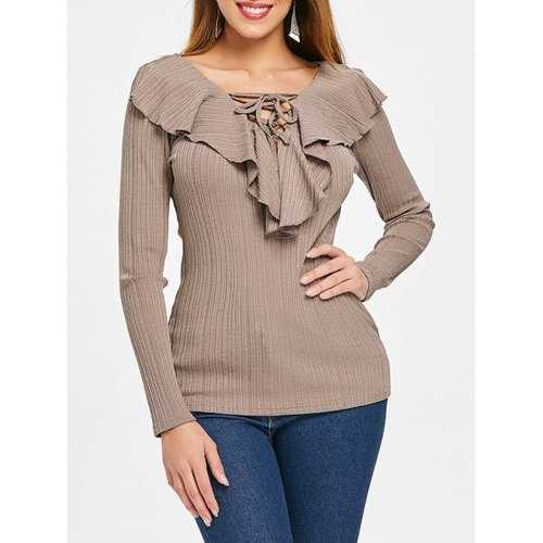 Lace Up Collar Long Sleeve Top - Camel Brown M - Winter Haven Co