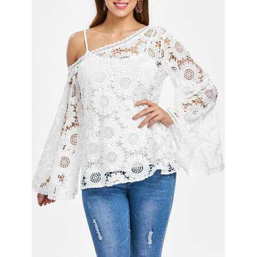 Full Sleeve Crochet Blouse - White Xl - Winter Haven Co
