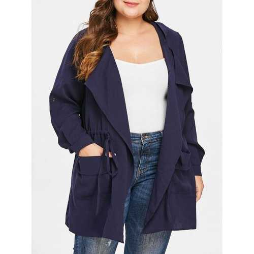 Drawstring Waist Plus Size Front Pockets Hooded Coat - Deep Blue L - Winter Haven Co