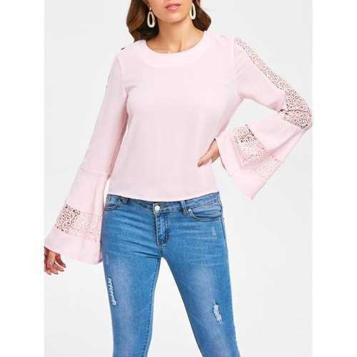 Bell Sleeve Lace Crochet Blouse - Pink Bubblegum L - Winter Haven Co