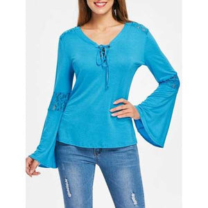 Lace Insert Bell Sleeves T-shirt - Glacial Blue Ice Xl - Winter Haven Co