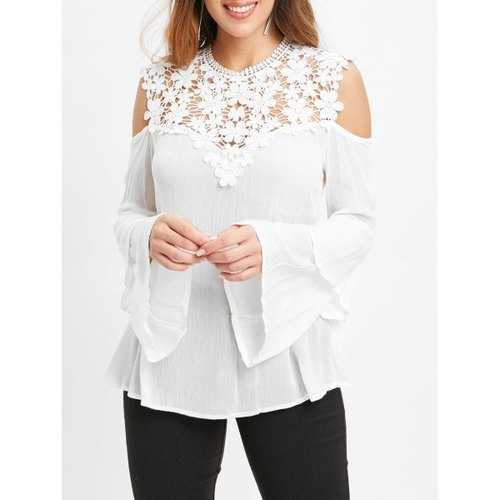 Lace Insert Cold Shoulder Bell Sleeve Blouse - White L - Winter Haven Co