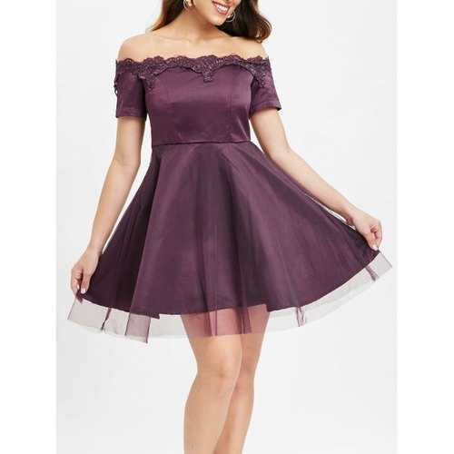 Bare Shoulder Lace Up A Line Dress - Plum Velvet M - Winter Haven Co