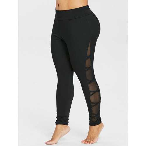 Plus Size Mesh Insert Leggings - Black 1x