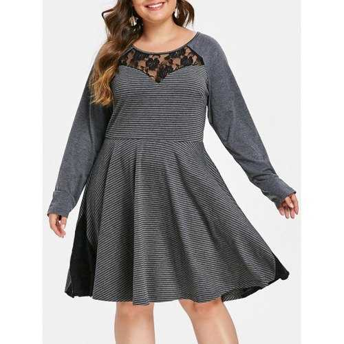 Plus Size Lace Insert Striped Skater Dress - Battleship Gray 2x