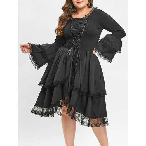 Plus Size Criss Cross Bell Sleeve Vintage Dress - Black 5x - Winter Haven Co
